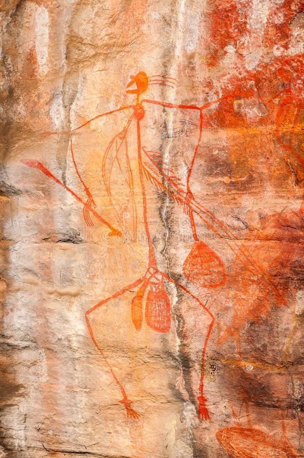 Aboriginal Rock Art at Nourlangie -Kakadu National Park, Australia. stock photography