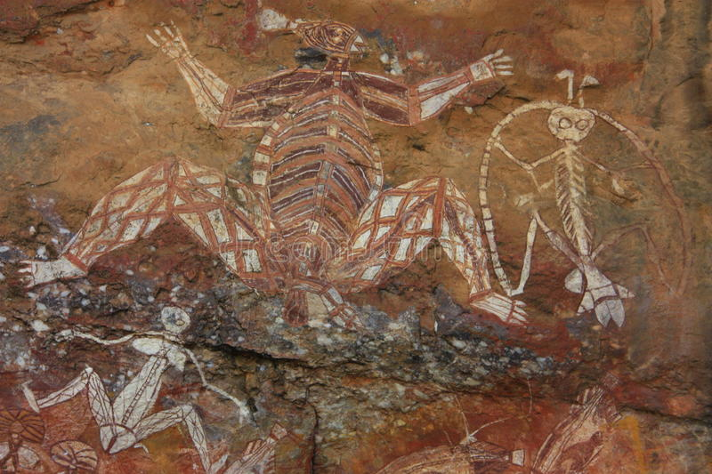 Aboriginal rock art at Nourlangie, Kakadu National Park, Northern Territory, Australia stock image