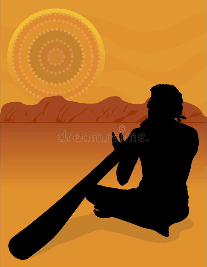 aboriginal silhouette stock illustrationer