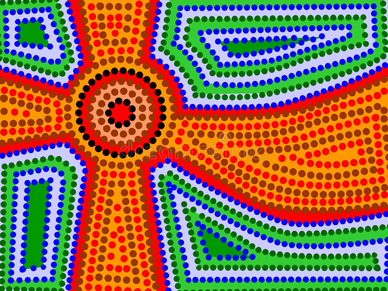 Aboriginal Sun. Background of aboriginal style symbolic sun and earth and water vector illustration
