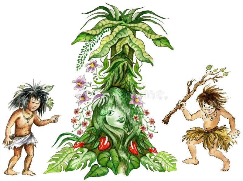 Aboriginals regardant la fille féerique de la jungle illustration de vecteur