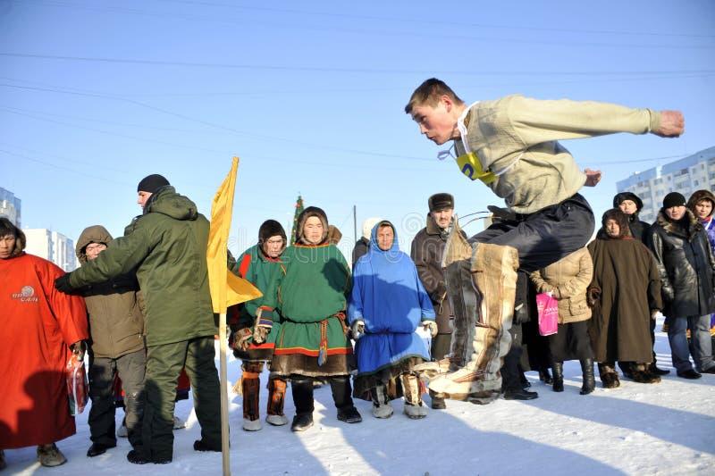 Aboriginals septentrionales de las Olimpiadas Rusia Yamal Nadym fotografía de archivo libre de regalías