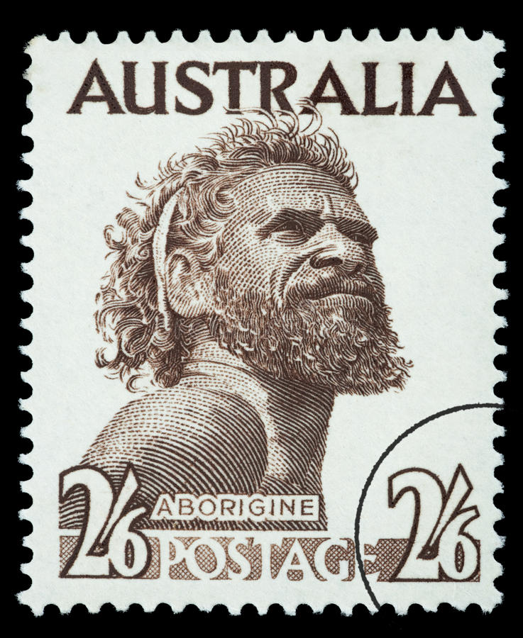 Aborigine Man Postage Stamp. AUSTRALIA - CIRCA 1970: A postage stamp printed in the Australia showing an Aborigine Man, circa 1970