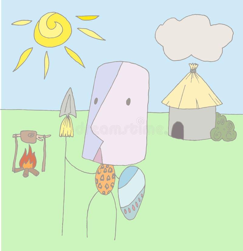 Aborigine. Vector illustration of an aborigine with background stock illustration