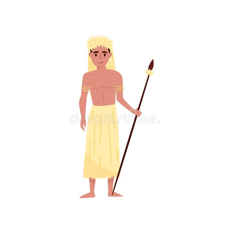 Aborigine warrior character with spear in traditional etnic clothes and headdress vector Illustration on a white. Aborigine warrior character with spear in stock illustration