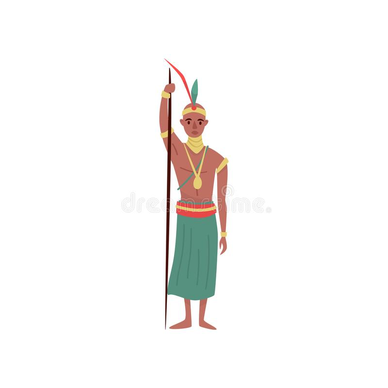 Aborigine warrior character with spear in traditional etnic clothes vector Illustration on a white background. Aborigine warrior character with spear in vector illustration