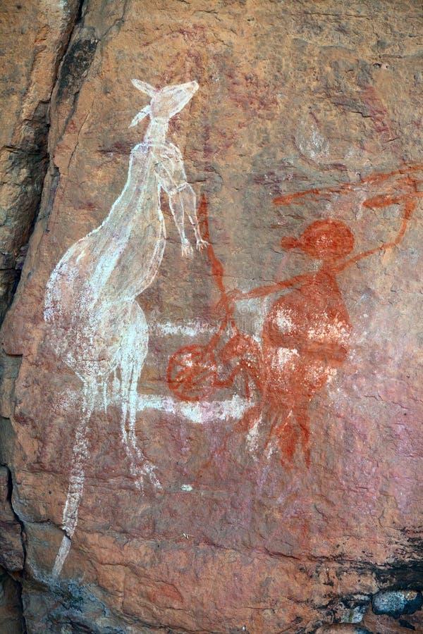 Aborigines rock painting art Kakadu royalty free stock photo