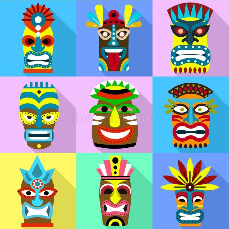 Aborygen ikony maskowy set, mieszkanie styl ilustracja wektor