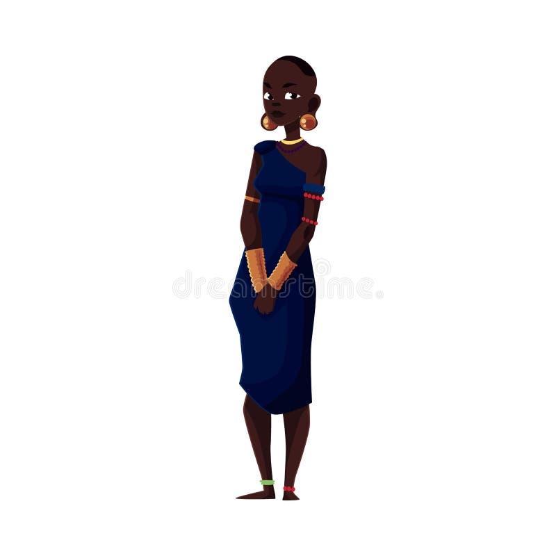 Aborygen kobieta od Afrykańskiego plemienia jest ubranym bransoletki i paciorkowatą kolię ilustracja wektor