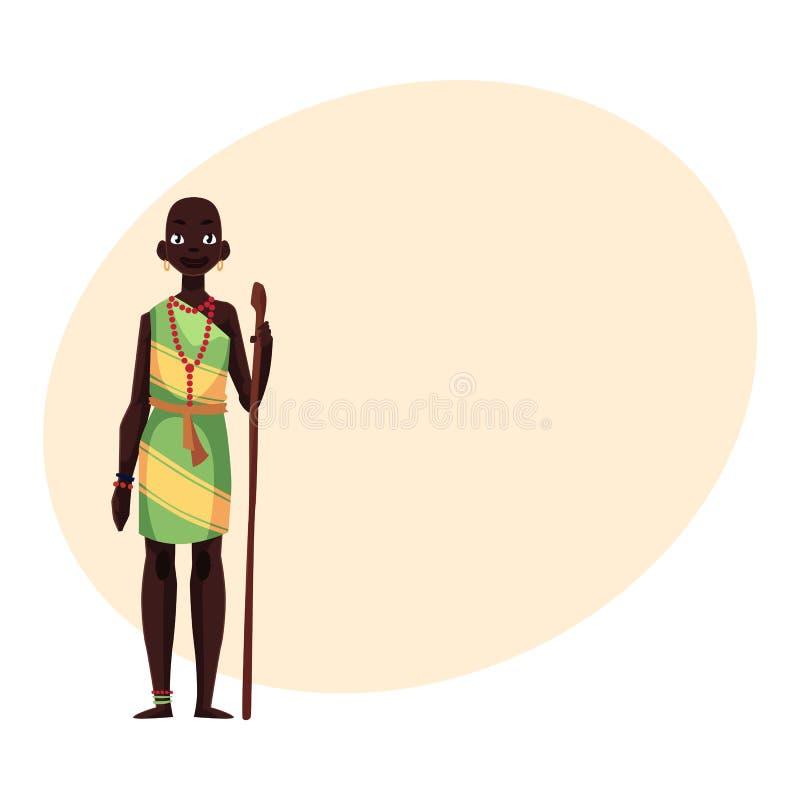 Aborygen kobieta od Afrykańskiego plemienia jest ubranym bransoletki i paciorkowatą kolię royalty ilustracja