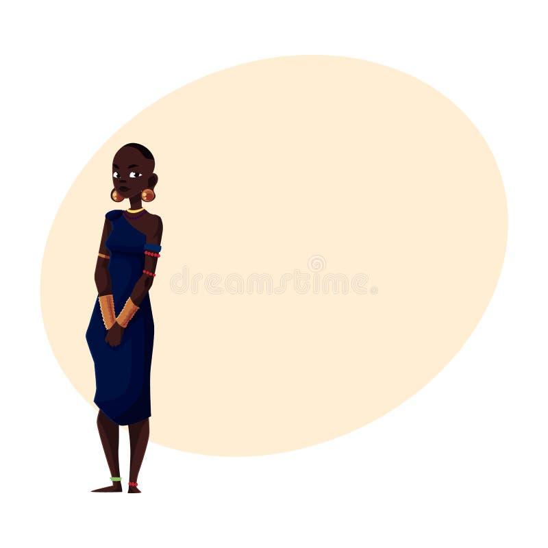 Aborygen kobieta od Afrykańskiego plemienia jest ubranym bransoletki i paciorkowatą kolię ilustracji