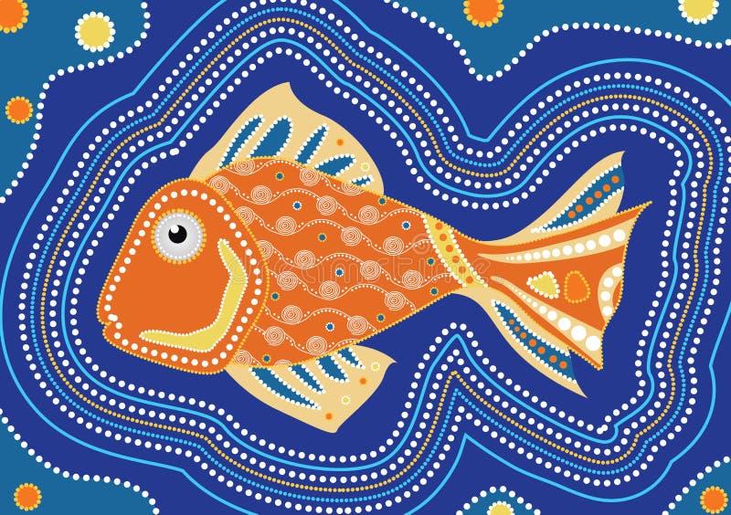 Aborygen ryba kropki obraz - Wektorowa ilustracja ilustracja wektor