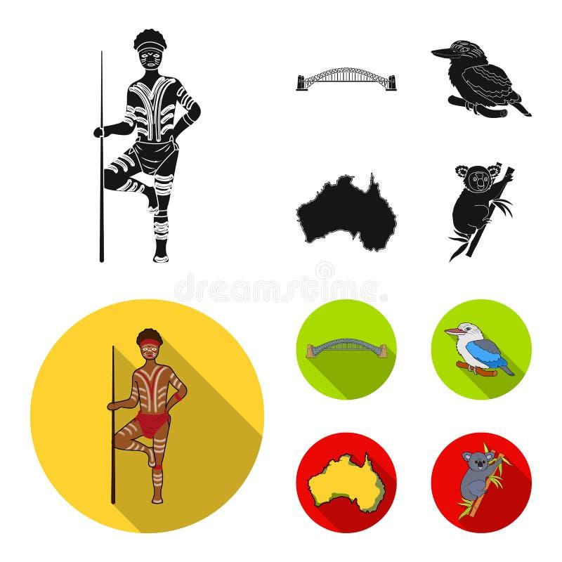 Aborygen z dzidą, Sydney schronienia most, kookabarra na gałąź terytorium kraj Australia set ilustracja wektor