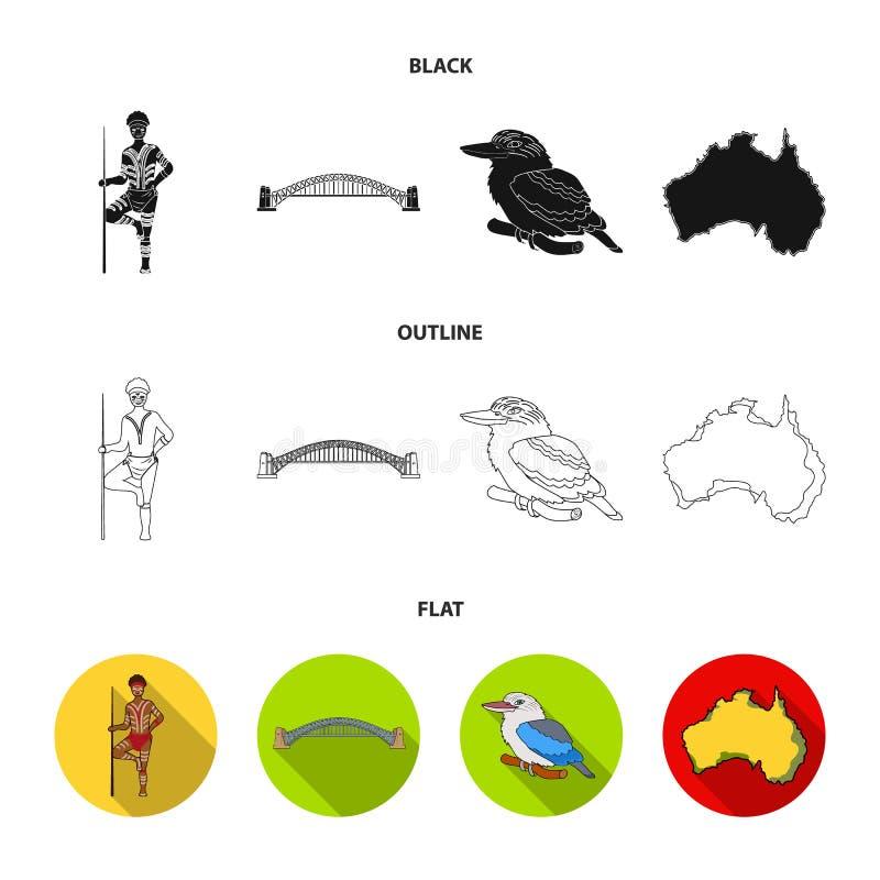 Aborygen z dzidą, Sydney schronienia most, kookabarra na gałąź terytorium kraj Australia set royalty ilustracja