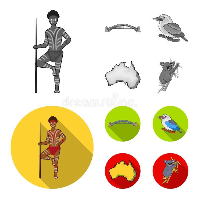 Aborygen z dzidą, Sydney schronienia most, kookabarra na gałąź terytorium kraj Australia set ilustracji