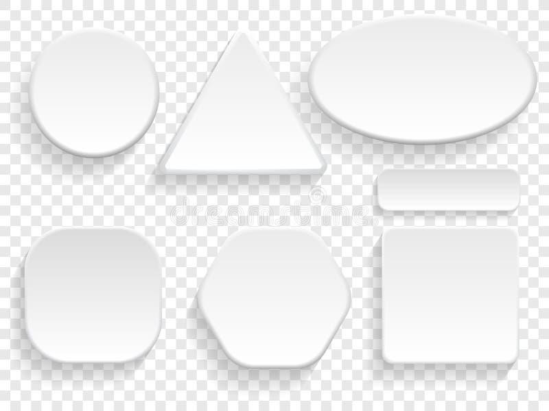 Abotoa o grupo 3D isolado branco de círculo, a forma triangular ou retangular do quadrado no fundo transparente Botões vazios do  ilustração royalty free