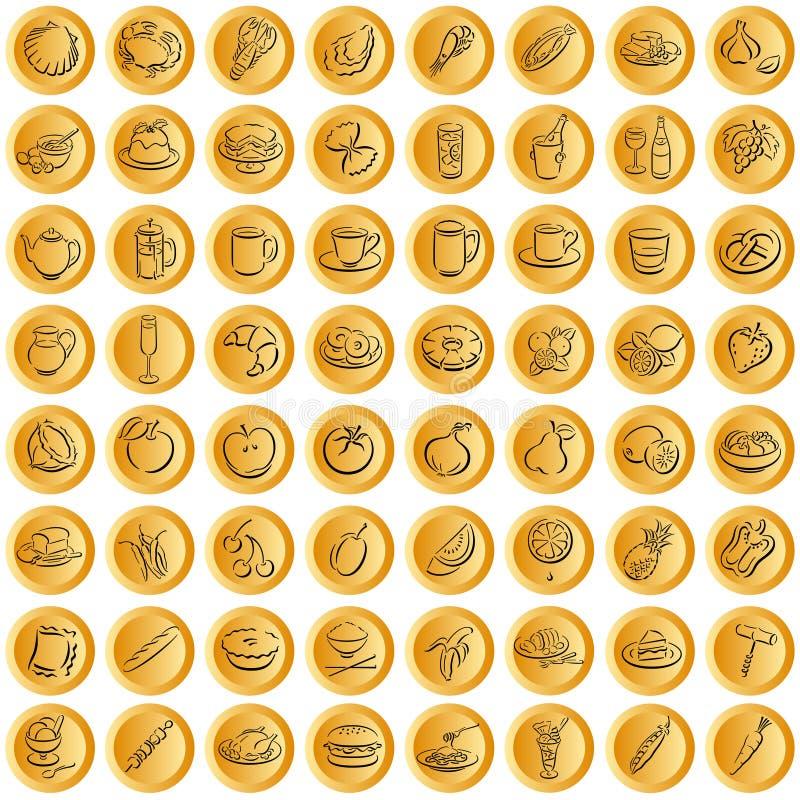 Abotoa símbolos do alimento do whith ilustração stock