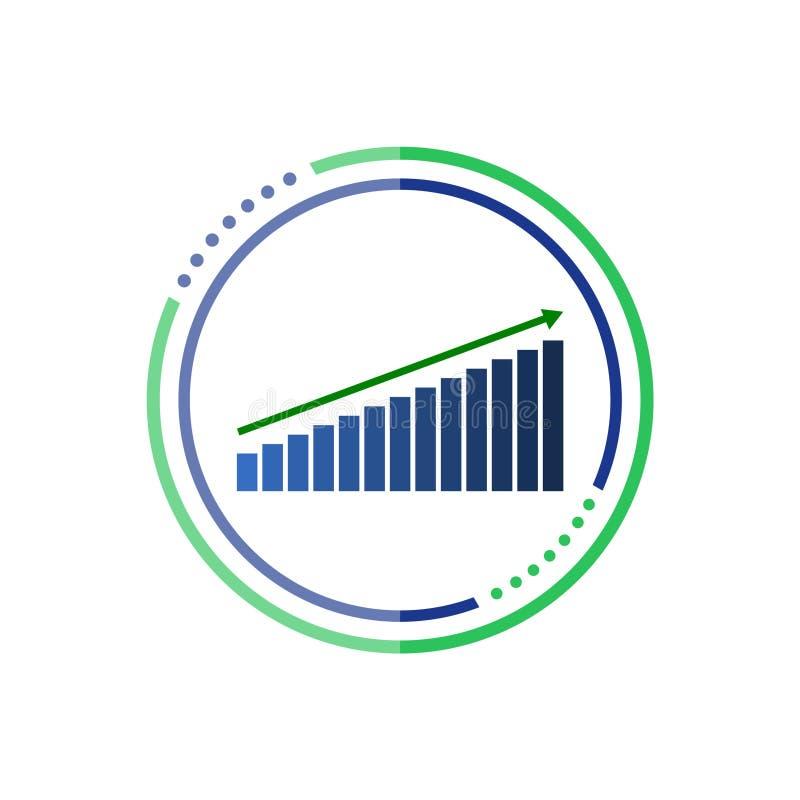 Abotoe a carta, ícone do gráfico, símbolo da carta da analítica do negócio ilustração royalty free