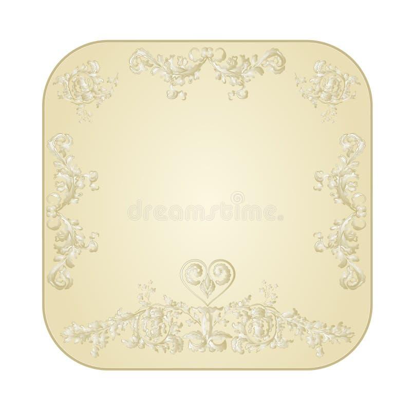 Abotoe festivo quadrado com um vetor do vintage dos ornamento do coração ilustração do vetor