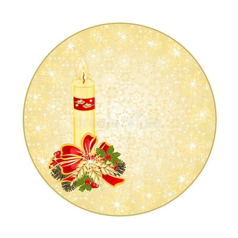 Abotoe flocos de neve castiçal da decoração do Natal do círculo e cones do pinho e curve a ilustração do vetor do vintage editáve ilustração do vetor