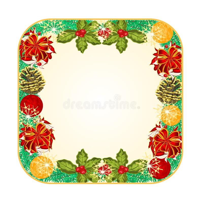 Abotoe o Natal quadrado com fitas vermelhas e vetor dos cones do pinho ilustração stock