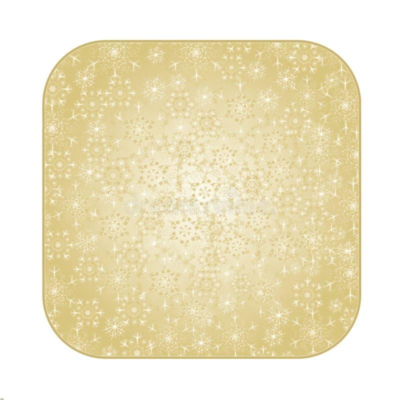 Abotone la Navidad cuadrada con vector del fondo del oro de los copos de nieve stock de ilustración