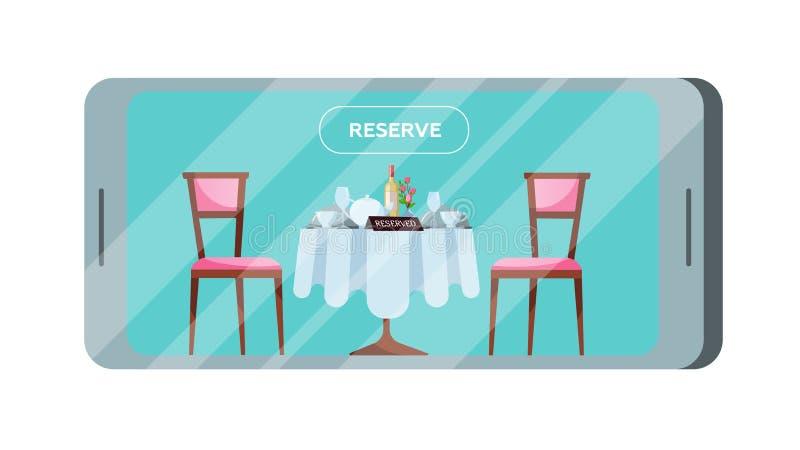 Abotone para reservar una tabla en un café o el restaurante en la pantalla del smartphone Una mesa redonda con un mantel alineado libre illustration