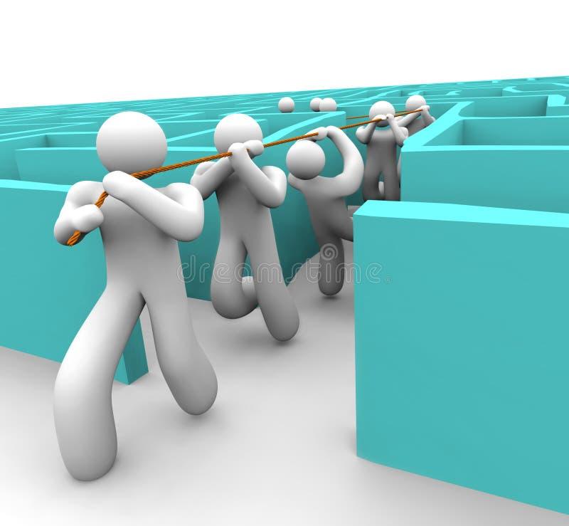 Aboutir l'équipe hors d'un labyrinthe illustration stock