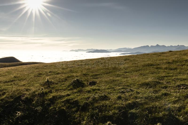 Above all - beautiful aerial upper view on scenic landscape in iraty mountains, with low sea of clouds stock photo