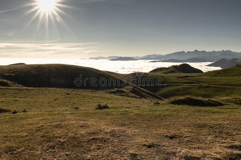 Above all - beautiful aerial upper view on scenic landscape in iraty mountains, with low sea of clouds stock image