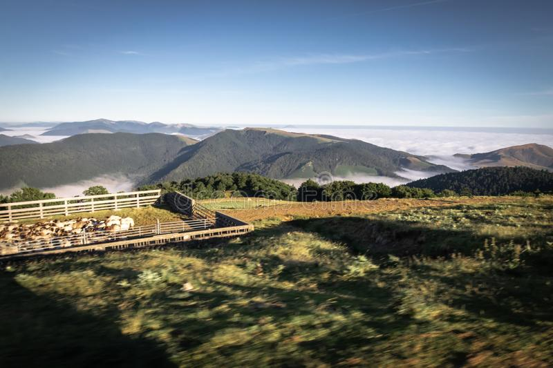 Above all - beautiful aerial upper view on scenic landscape in iraty mountains, with low sea of clouds royalty free stock images