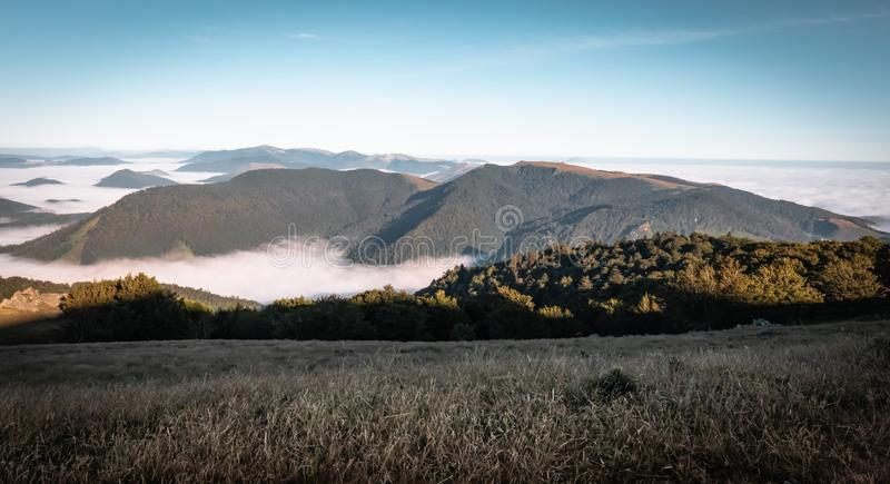 Above all - beautiful aerial upper view on scenic landscape in iraty mountains, with low sea of clouds royalty free stock photos