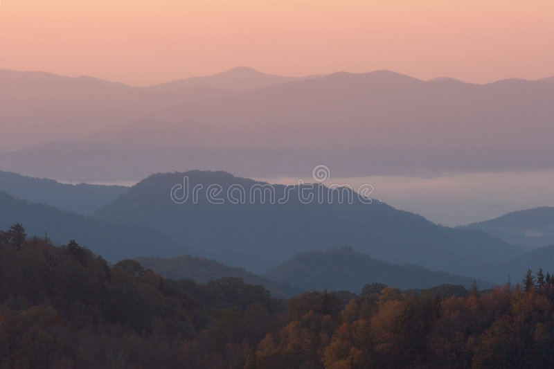 Above Autumn Clouds. Sunrise high above the clouds in the Smoky Mountains Nat. Park, USA royalty free stock images
