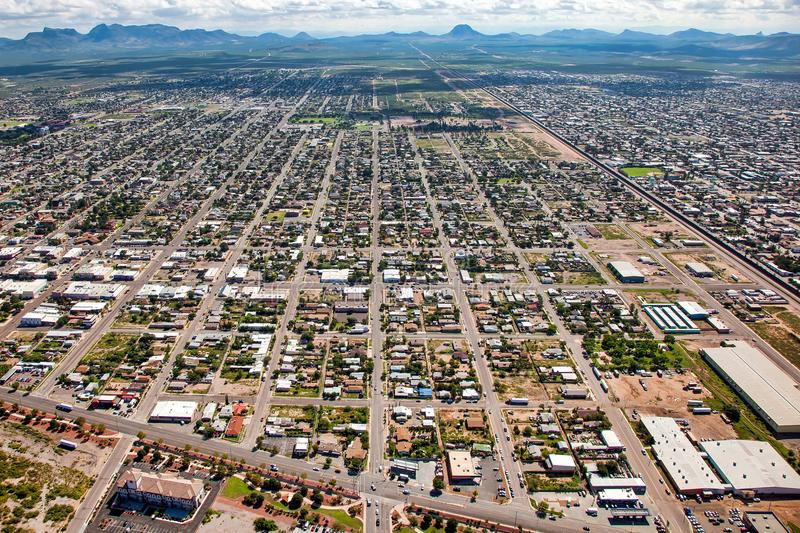 Above the Border Wall at Douglas, Arizona stock image