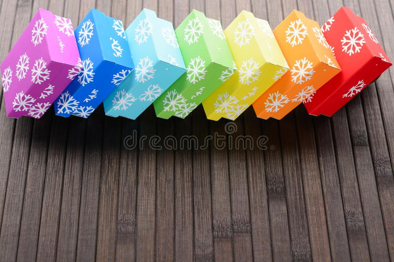 Christmas gifts in row stock image