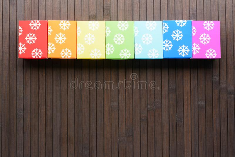 Christmas gifts in row royalty free stock photo