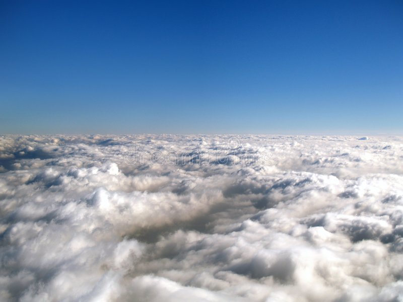 Above the clouds. An endless sea of clouds stock image