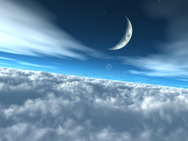 Above the Clouds Heavenly Lunar Sky royalty free illustration