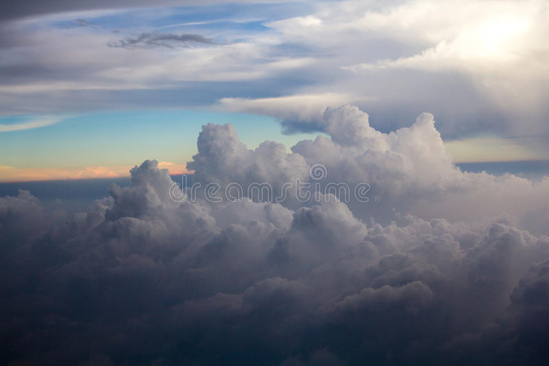 Above the Clouds on horizon. Clouds formation on a horizon stock images