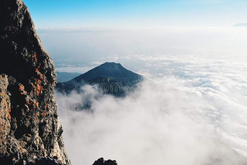 Above the clouds at Mount Meru. Above the clouds at Socialist Peak, Mount Meru, Arusha National Park royalty free stock photo