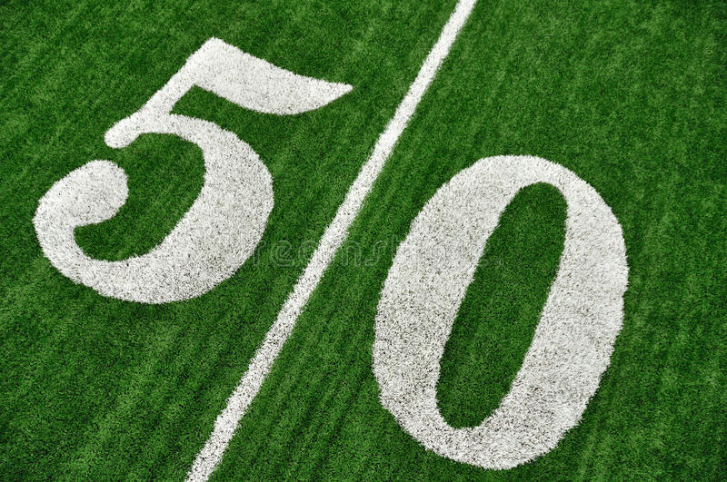 Above Fifty Yard Line on American Football Field stock images