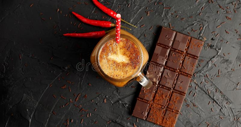 Chocolate bar with coffee and chili royalty free stock photo
