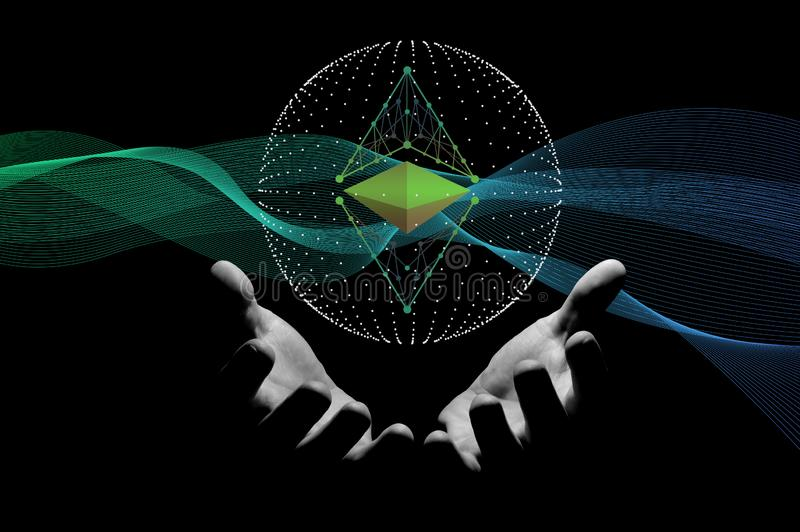 Above human hands hologram ethereum sign vector illustration