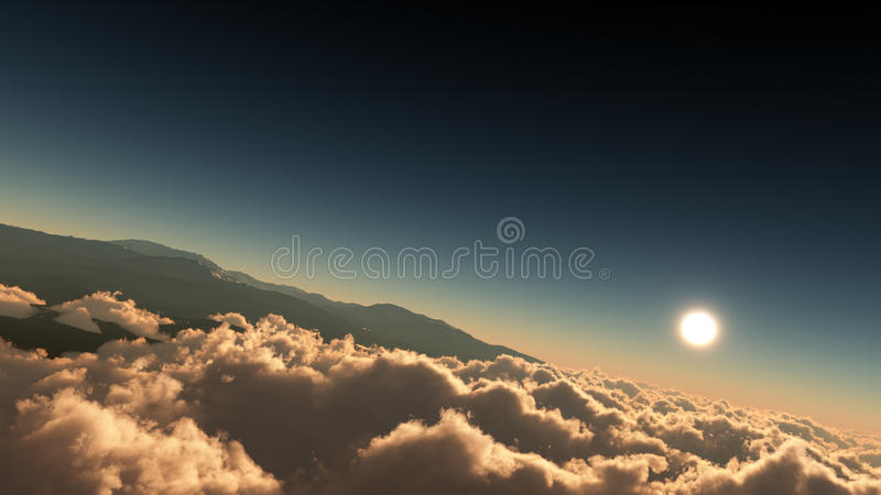 Above The Majestic Clouds With Mountains. Unique, high quality and high resolution rendering of high altitude sky environment with majestic clouds, mountains and stock illustration