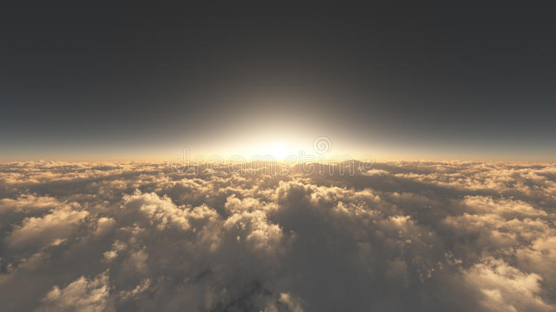 Above The Majestic Clouds. Unique, high quality and high resolution rendering of high altitude sky environment with majestic clouds and sunset stock illustration