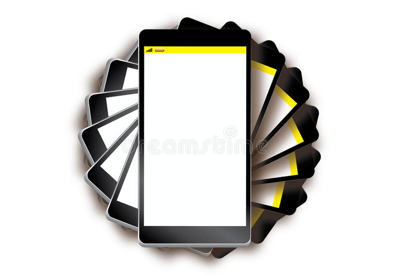Above mobile phone stack. Above a stack of mobile phones vector illustration