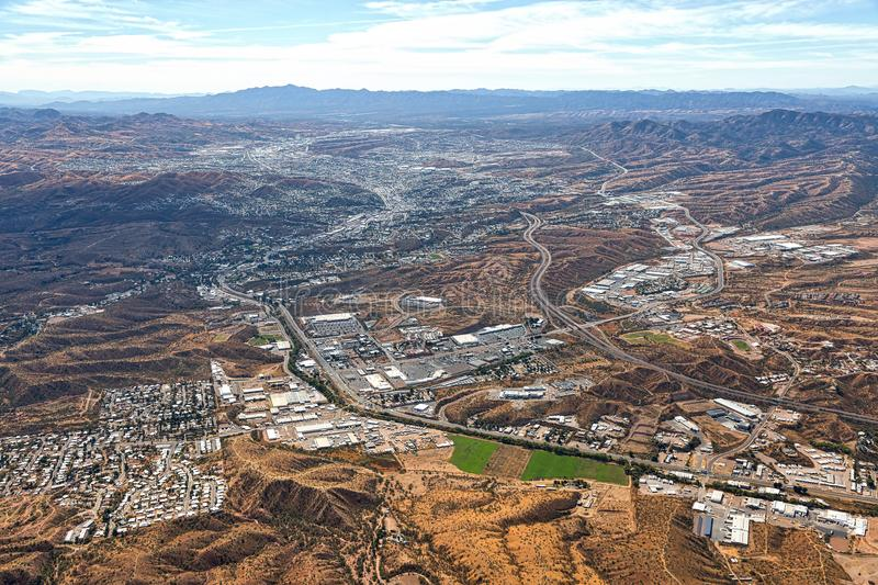 Above Nogales, Arizona looking into Nogales, Mexico stock image