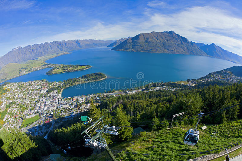 Above Queenstown. View of Queenstown and Lake Wakatipu from the Skyline Gondola stock photography