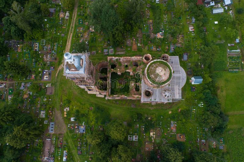 Above the ruins of the ancient Church of the Savior. Yaroslavl region. Above the ruins of the ancient Church of the Savior on July Day. The village of Spas royalty free stock photos
