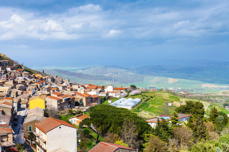 Above view of Aidone comune in Sicily in spring. Italy stock image